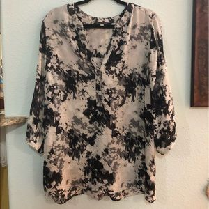 Rose & Olivr Watercolor Black White Button Blouse